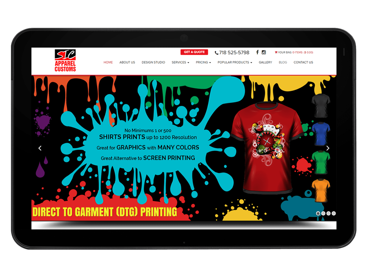 Web Design, Development & Marketing for Custom T-Shirt and Apparel Printing Company