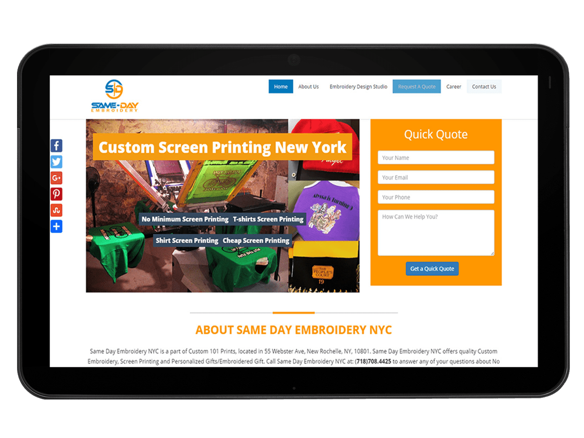 Website Design Development for Embroidery & Screen Printing Company